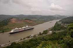 Cruise Ship passes through Panama Canal Photo